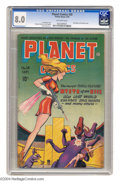 Golden Age (1938-1955):Science Fiction, Planet Comics #38 (Fiction House, 1945) CGC VF 8.0 Off-white pages.Check out those two large, identical appendages! And the...