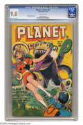 "Golden Age (1938-1955):Science Fiction, Planet Comics #42 (Fiction House, 1946) CGC VF/NM 9.0 Off-whitepages. This title found a winning formula with ""leggy damsel..."