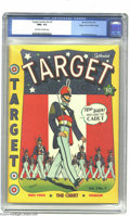 Golden Age (1938-1955):Superhero, Target Comics V2#7 Mile High pedigree (Novelty Press, 1941) CGC NM+ 9.6 Off-white to white pages. Only one copy of Target ...