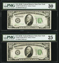 Small Size:Federal Reserve Notes, Fr. 2007-B $10 1934B Federal Reserve Notes. Two Examples. PMG Graded Very Fine 25; Very Fine 30.. ... (Total: 2 notes)