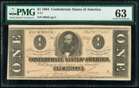 T71 $1 1864 PF-10 Cr. 573A PMG Choice Uncirculated 63