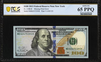 Missing Printing of Federal Reserve System Seal Error Fr. 2188-B $100 2013 Federal Reserve Note. PCGS Banknote Gem Unc 6...