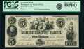 Washington, DC- Merchants' Bank $5 July 1, 1852 G6 PCGS Choice About New 58PPQ