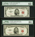 Small Size:Legal Tender Notes, Fr. 1532 $5 1953 Legal Tender Note. PMG Gem Uncirculated 65 EPQ;. Fr. 1533 $5 1953A Legal Tender Note. PMG Choice Uncircul... (Total: 5 notes)
