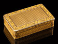 Silver & Vertu, A French Engine-Turned 18K Gold Snuff Box, 19th ce...