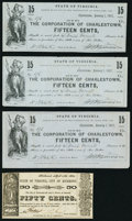 Charlestown, VA- Corporation of Charlestown 15¢ Jan. 1, 1862, Three Facsimile Reprints Very Fine-Extremely Fine or...