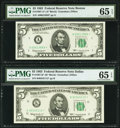 Small Size:Federal Reserve Notes, Fr. 1967-A*; K* $5 1963 Federal Reserve Star Notes. PMG Gem Uncirculated 65 EPQ.. ... (Total: 2 notes)
