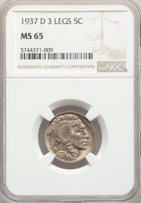 1937-D 5C Three-Legged, MS 65 NGC
