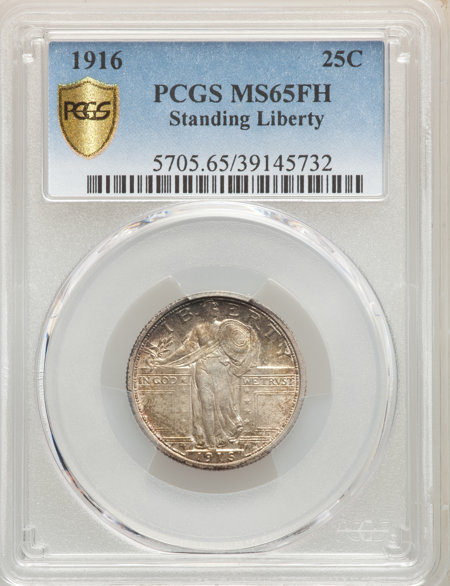 1916 25C STANDING, FH PCGS Secure 65 PCGS