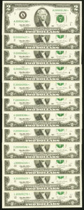 Complete District Set Fr. 1936-A*-L* $2 1995 Millennium Federal Reserve Notes. Twelve Examples. Choice Crisp Uncirculate...