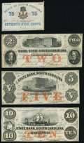 Obsoletes By State:South Carolina, Charleston, SC- Bank of the State of South Carolina 75¢ Feb. 1, 1863; $2 Feb. 10, 1862 Fine-Very Fine or Better;. Char... (Total: 4 notes)