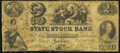 Logansport, IN- State Stock Bank $2 Oct. 20, 1852 Very Good-Fine