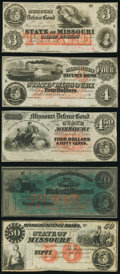Jefferson City, MO- State of Missouri (Secessionist) $3; $4; $4.50; $20; $50 186_ Remainders Fine or Better.</...