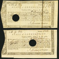 Colonial Notes:Connecticut, State of Connecticut Treasury Office £8.19s.2 1/2d; £12.5s June 1, 1782 Fine, Hole Cancel.. ... (Total: 2 notes)