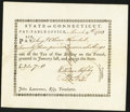 Colonial Notes:Connecticut, State of Connecticut Pay Table Office Mar. 4, 1783 Extremely Fine-About New.. ...