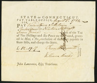 State of Connecticut Pay Table Office Aug. 2, 1782 Very Fine-Extremely Fine
