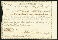 State of Connecticut Comptroller's Office Apr. 6, 1796 Very Fine-Extremely Fine