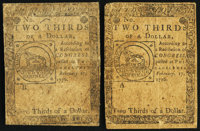 Continental Currency February 17, 1776 $2/3. Two Examples. Fine. ... (Total: 2 notes)