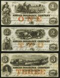 Obsoletes By State:Michigan, Adrian, MI- Adrian Insurance Company $1; $2; $3 18__ Remainders About Uncirculated or Better.. ... (Total: 3 notes)