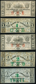 Obsoletes By State:Louisiana, Baton Rouge, LA- State of Louisiana $1; $1; $2; $2; $3 Feb. 24, 1862 Very Fine or Better.. ... (Total: 5 notes)