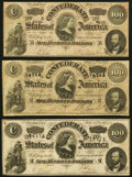 Confederate Notes:1864 Issues, T65 $100 1864 Three Examples Very Fine or Better.. ... (Total: 3 notes)
