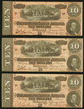 Confederate Notes:1864 Issues, T68 $10 1864 Three Examples About Uncirculated or Better.. ... (Total: 3 notes)