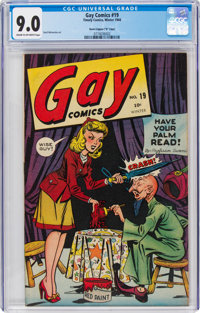 """Gay Comics #19 Davis Crippen (""""D"""" Copy) Pedigree (Timely, 1944) CGC VF/NM 9.0 Cream to off-white pages"""