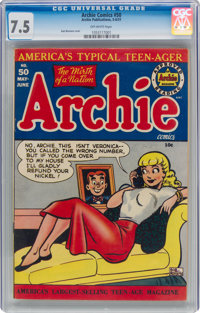 Archie Comics #50 (Archie, 1951) CGC VF- 7.5 Off-white pages
