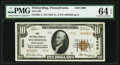National Bank Notes:Pennsylvania, Wilmerding, PA - $10 1929 Ty. 2 First National Bank Ch. # 5000 PMG Choice Uncirculated 64 EPQ.. ...