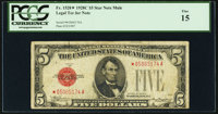 Fr. 1528* $5 1928C Mule Legal Tender Note. PCGS Fine 15