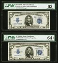 Fr. 1651 $5 1934A Silver Certificates. Two Examples. PMG Choice Uncirculated 64 EPQ; Choice Uncirculated 63. ... (Total:...