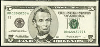 Misaligned Face Printing Error Fr. 1986-B $5 1999 Federal Reserve Note. About Uncirculated