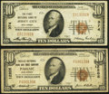 Jersey City, NJ - $10 1929 Ty. 1 The First National Bank Ch. # 374 Fine-Very Fine; Passaic, NJ - $10 1929 Ty. 1... (Tota...