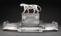 A WMF Silver-Plated and Glass Figural Centerpiece, Geislingen, Germany, circa 1930 Marks: (ostrich over WMF over G