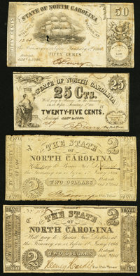 Raleigh, NC- State of North Carolina 25¢; 50¢; $2 (2) 1861-63 Good or Better. ... (Total: 4 notes)