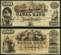 Obsoletes By State:Louisiana, New Orleans, LA- New Orleans Canal and Banking Company $500; $1,000 18__ Remainders Crisp Uncirculated.. ... (Total: 2 notes)