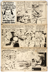 Clarence Gray Brick Bradford Sunday Comic Strip Original Art dated 4-21-46 (King Features Sy