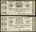 Obsoletes By State:Arkansas, (Little Rock), AR- Arkansas Treasury Warrant $1 Aug. 12, 1862 Cr. 30; $2 July 31, 1863 Cr. 36A Very Fine or Better.. ... (Total: 2 notes)