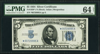 Fr. 1650* $5 1934 Silver Certificate Star. PMG Choice Uncirculated 64 Net