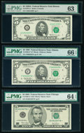 Fr. 1970-A* $5 1969A Federal Reserve Star Note. PMG Choice Uncirculated 63; Fr. 1985-F* $5 1995 Federal Reserve