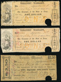 Austin, TX- Treasury Warrant $1 Mar. 24, 1862; June 23, 1862; $2.50 Oct. 2, 1862; $5 Mar. 27, 1862; Mar. 30, 1862; June...