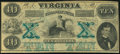 Obsoletes By State:Virginia, Richmond, VA- Virginia Treasury Note $10 Oct. 15, 1862 Cr. 11 About Uncirculated.. ...