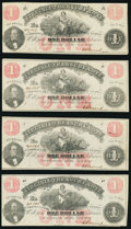 Richmond, VA- Virginia Treasury Note $1 July 21, 1862 Cr. 17, Cut Sheet of Four Crisp Uncirculated. ... (Total: 4)