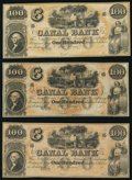 Obsoletes By State:Louisiana, New Orleans, LA- New Orleans Canal and Banking Company $100 18__, Three Remainders Crisp Uncirculated.. ... (Total: 3 notes)