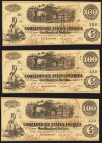 T40 $100 1862 Three Consecutive Examples About Uncirculated or Better. ... (Total: 3 notes)