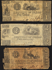 Austin, TX- Republic of Texas $1; $2; $3 circa 1840 Good. ... (Total: 3 notes)