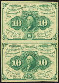 Fractional Currency:First Issue, Fr. 1242 10¢ First Issue Uncut Vertical Pair About New.. ...