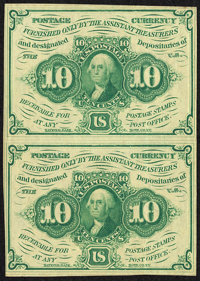 Fr. 1242 10¢ First Issue Uncut Vertical Pair About New