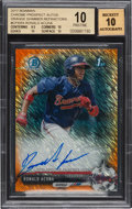 Baseball Cards:Singles (1970-Now), 2017 Bowman Chrome Prospects Autos Ronald Acuna (Orange Shimmer Refractor) #CPARA BGS Pristine 10, Auto 10. ...
