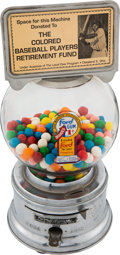 """Baseball Collectibles:Others, Early 1960's """"Ford Gum"""" Gum Ball Machine Advertising """"Colored Baseball Players Retirement Fund.""""..."""